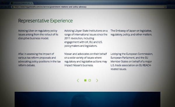 Hogan Lovells er et af de ni advokatfirmaer, der reklamerer med deres EU-lobbyarbejde uden at være tilmeldt lobbyregistret. På firmaets hjemmeside kan man blandt andet se, hvordan de rådgiver Uber. Foto: Screenshot fra hoganlovells.com.