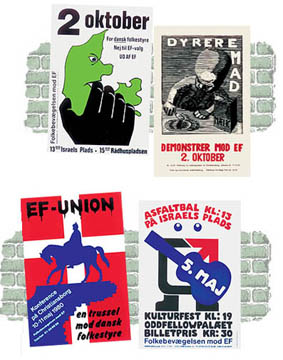 Fire plakater fra Folkebevægelsen